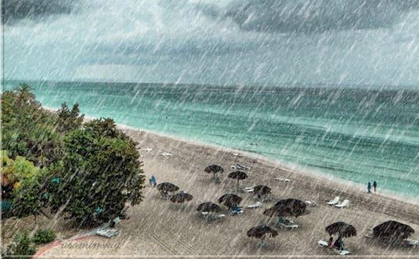 сезон дождей на Занзибаре. Пляж во время ливня